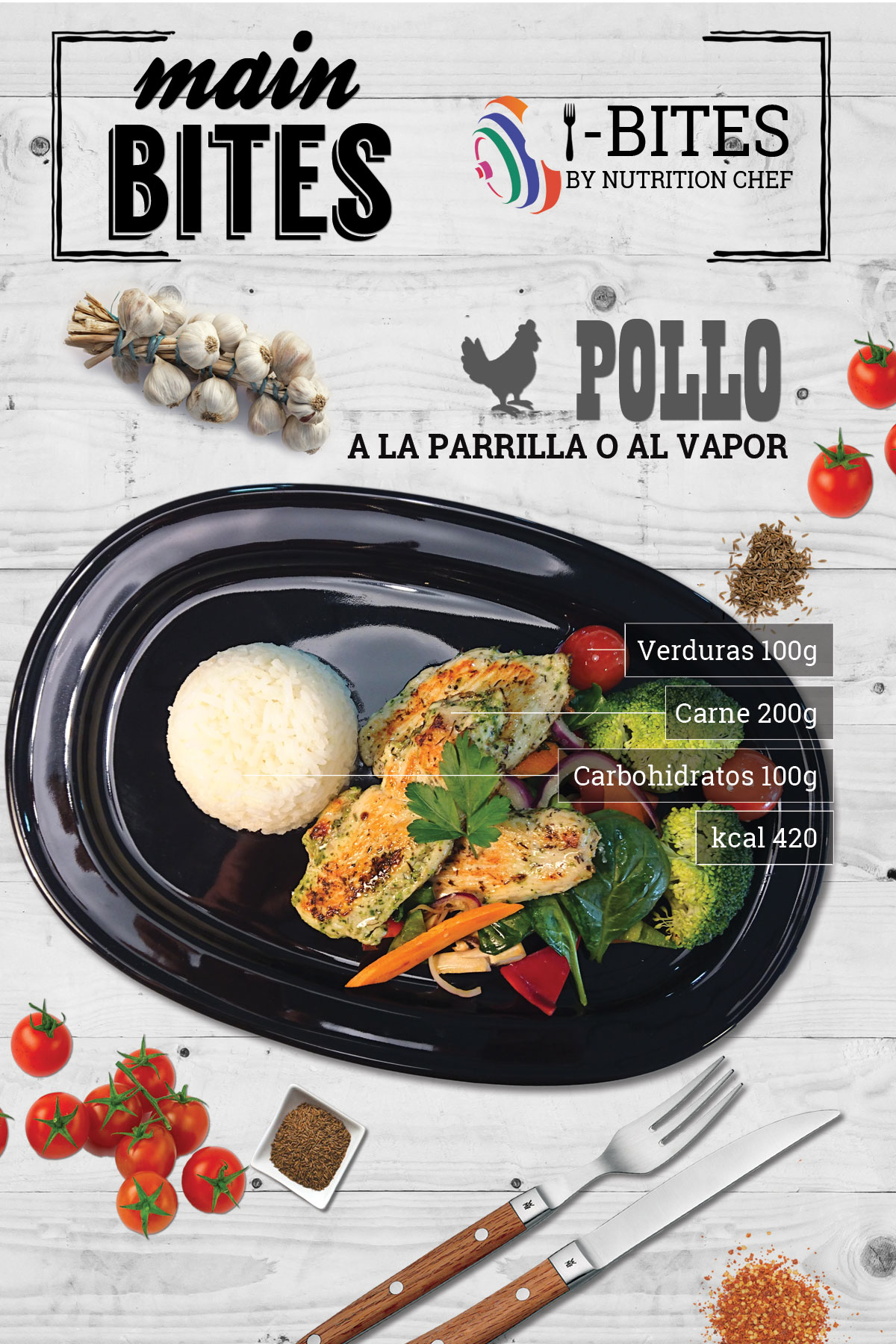 I Bites Marbella grilled Chicken Main Bite 420 Kcal