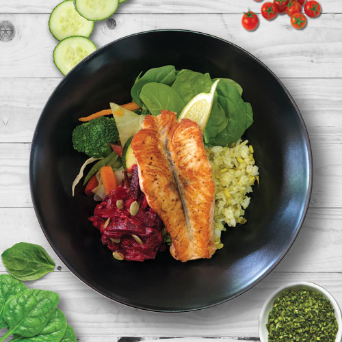 ibites ape bowl Salmon,  Beetroot, Mixed vegetables, Spinach and Moongo Rice