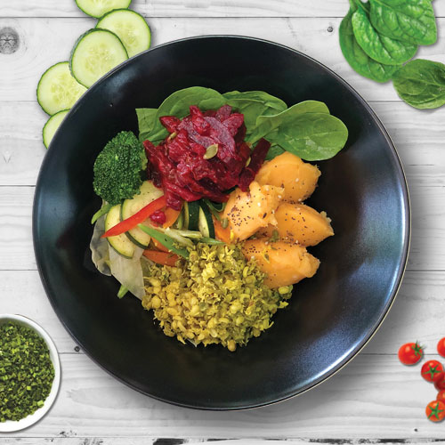 ape vegan bowl marbella ibites Moongo Beans, Beetroot, Mixed Vegetables, Spinach and Sweet potato pure